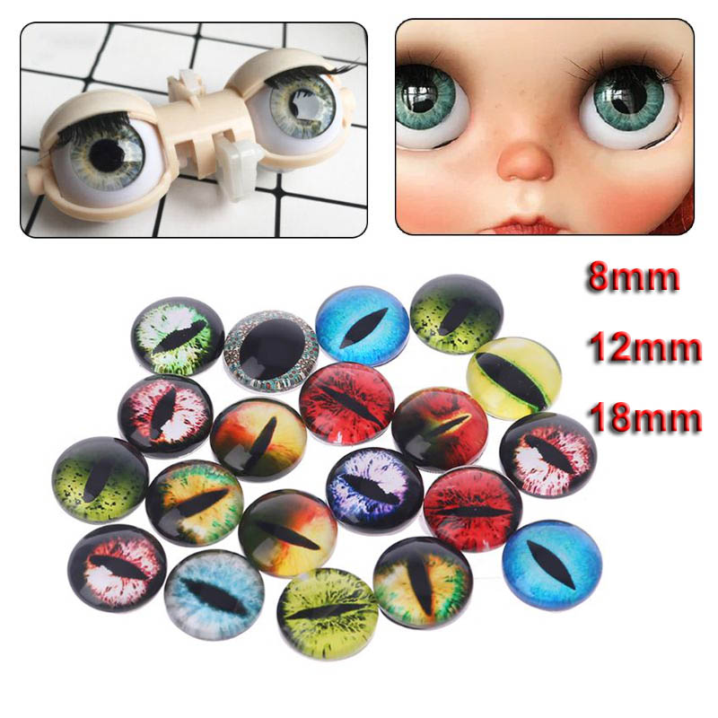 10 Pairs Glass Doll Eyes Animal DIY Crafts Eyeballs For Dinosaur Eye Accessories Jewelry Making Handmade 8/12/18mm