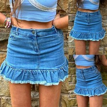 Women's Skirts Oversize Ruffles Vintage High-Waist Fashion Denim Summer All-Match Solid