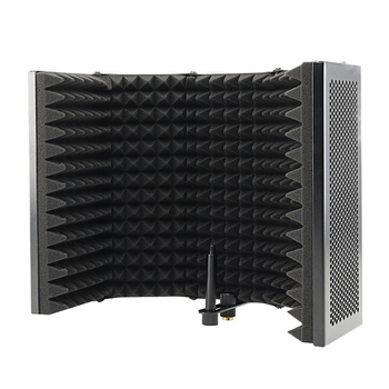5 Panel Foldable Studio Microphone Isolation Shield Recording Sound Absorber Foam Panel