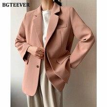 BGTEEVER-Chaqueta Lisa para mujer, trajes de una sola botonadura, Blazer Formal para oficina, prendas de vestir con cuello con muescas para mujer 2021