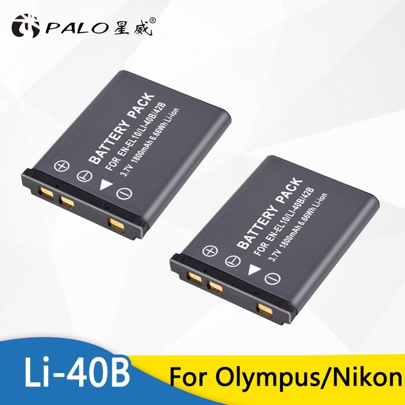 2 pièces 1800mAh EN-EL10 ENEL10 EN EL10 LI-42B LI42B L 42B LI40B 40B Batterie pour Appareil Photo OLYMPUS U700 U710 FE230 FE340 FE290 FE360