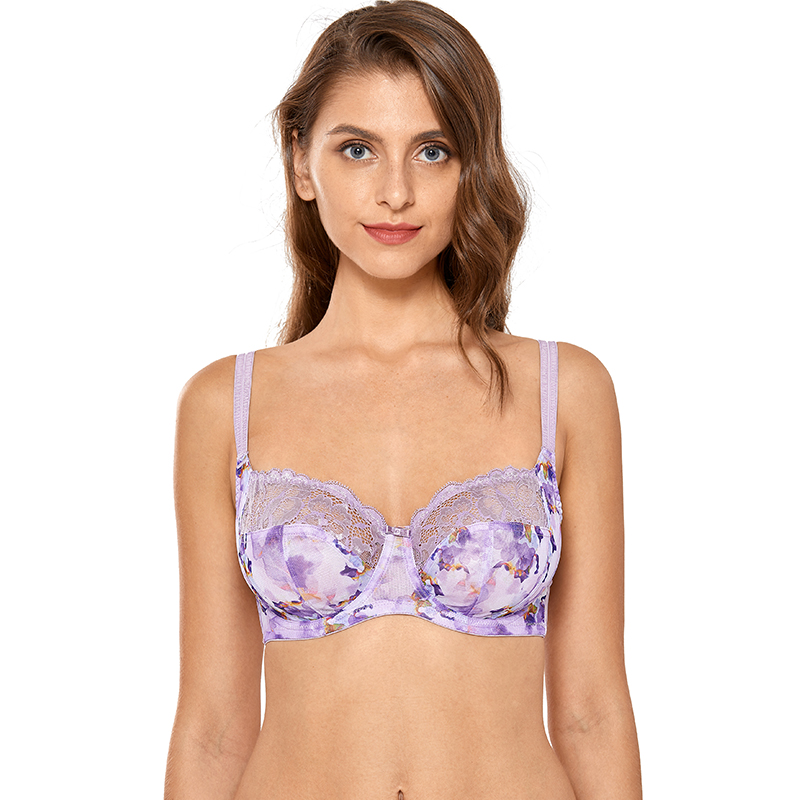 Women's Full Figure Non Padded Plus Size Floral Lace Underwire Balconette Bra