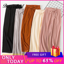 Beigerfayl Pleated Pants Pantalon Large Femme Autumn Women Chiffon Korean High Waist Plus Size Feminino Woman Casual K3968
