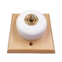 Interruptor de palanca redonda de cerámica Retro, interruptor de luz de pared de Control de vía de 1 vía y 2 de alta calidad