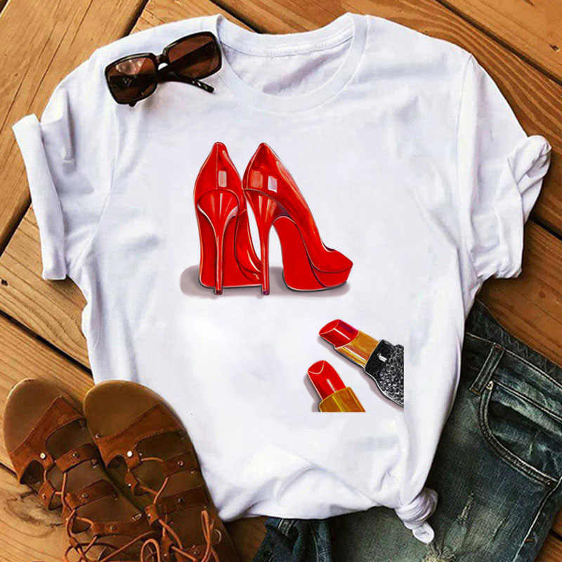 New Fashion Women T Shirt tacchi alti rossi scarpe e rossetto stampa Vogue T Shirt donna Harajuku top Tee 90s Ladies Tee Shirts T