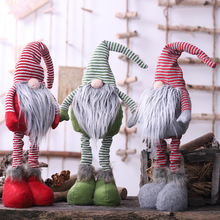 Long legs Santa New Year Christmas Tree Decorations White beard Telescopic Doll for Home