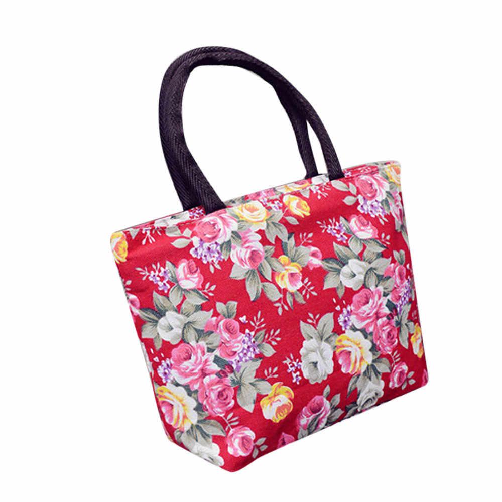Kanvas Belanja Tas Wanita 2019 Baru Fashion Floral Dicetak Wanita Bahu Tote Shoulder Bag Bolsa Feminina