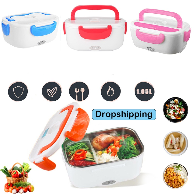 12V/110V Portable Electric Heating Lunch Box Bento Storage Box for Home Office School Rice Cookers Food Warmer for Dropshipping