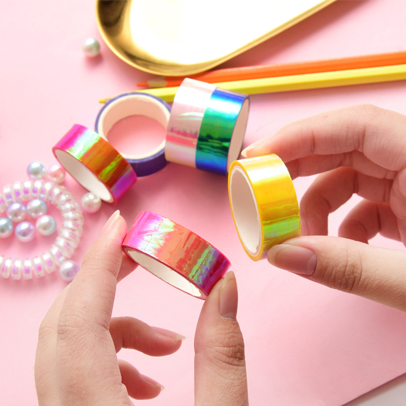 5PCS 1.5CM*3M Rainbow Film Brilliant Color Laser Tape Adhesive DIY Decorative Notebook Album Decor Stick Label Masking Tape Gift