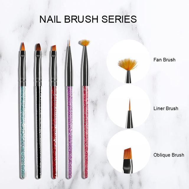 Professional UV Gel Nail Brush Gradient Red Green Mixed Colors Glitter Handle Acrylic Nail Art Painting Drawing Pen Tools