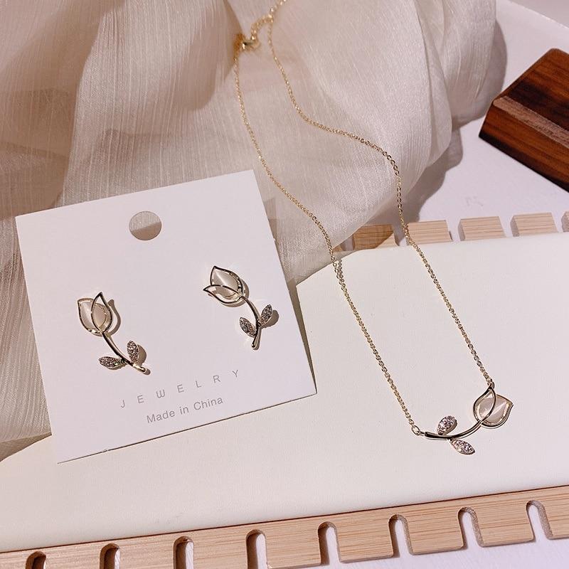 MENGJIQIAO Fashion Elegant Cute Opal Rose Flower Stud Earrings For Women Students Delicate Micro Paved Zircon Jewelry Oorbellen