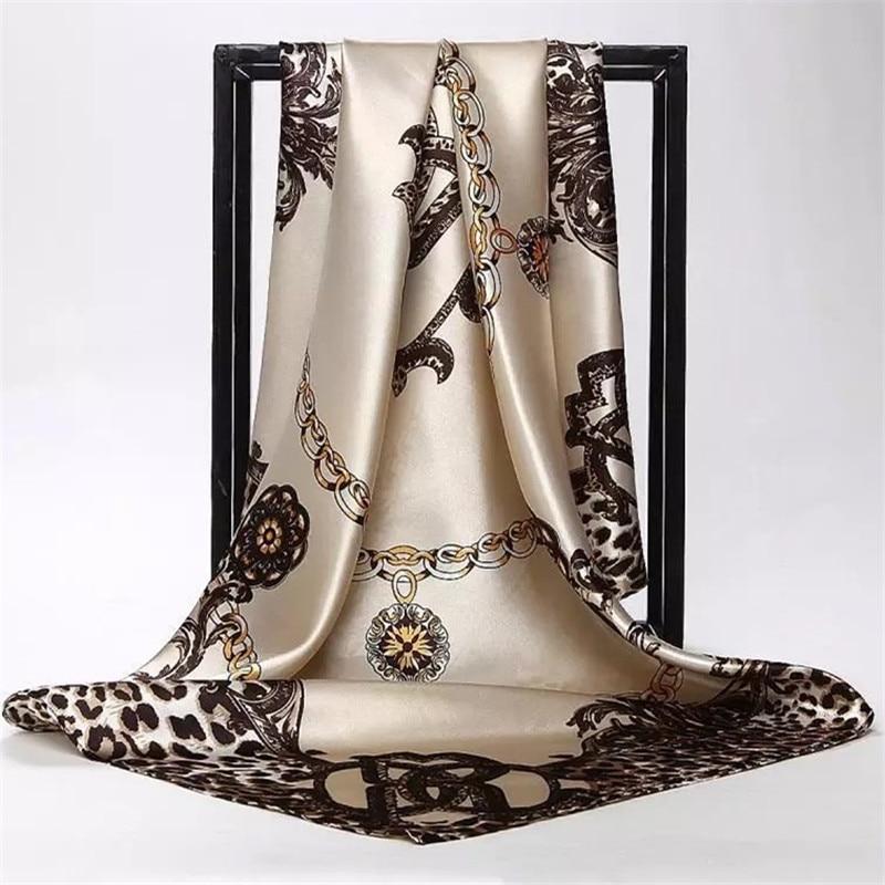 Large Hijab Scarves For Women Fashion Print Silk Satin Scarf Female 90cmx90cm Luxury Brand Square Shawls Head Scarfs For Ladies