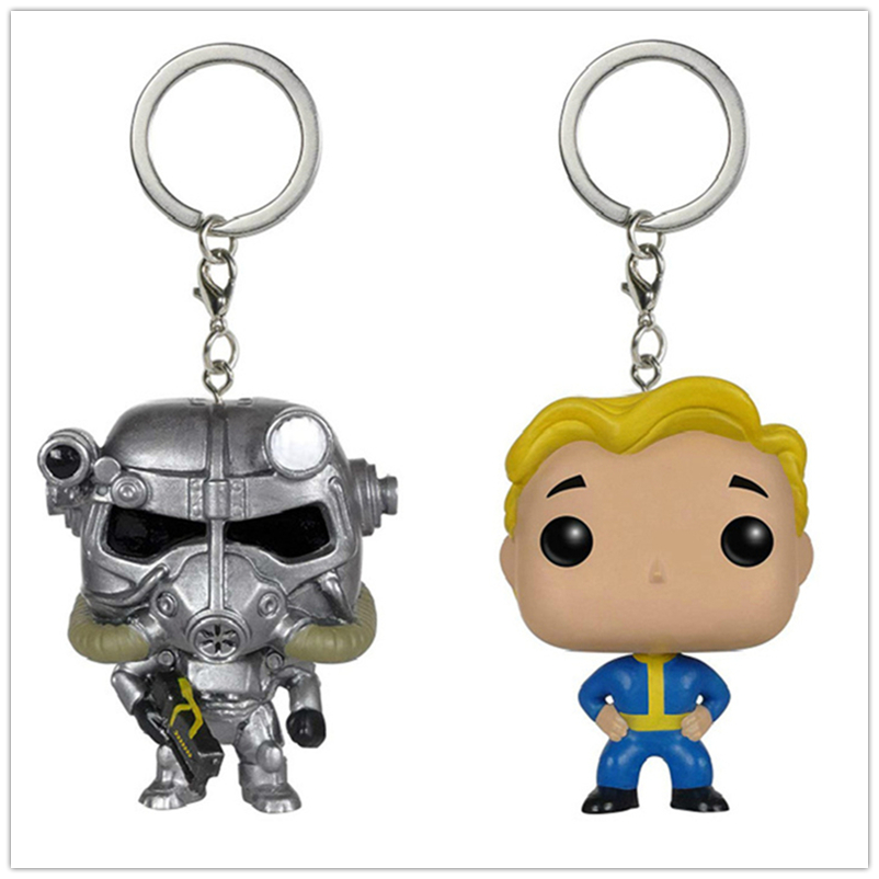 Pocket Keychain Game Fallout 4 Power Armor Vault Boy Vinyl Action Figures Model Toys For Children Gifts with box image
