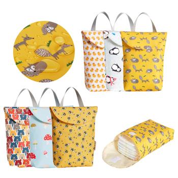 Gorąca sprzedaż wielofunkcyjne torby na pieluchy dla niemowląt wielokrotnego użytku moda pielucha wodoodporna organizator przenośna duża pojemność torba dla mamy w sprzedaży hurtowej tanie i dobre opinie Tote bag Cotton Fabric Hasp (20 cm Max Długość 30 cm) Diaper Bags 20cm 24cm Drukuj Support yellow fox penguin small yellow duck colored mushrooms little bees
