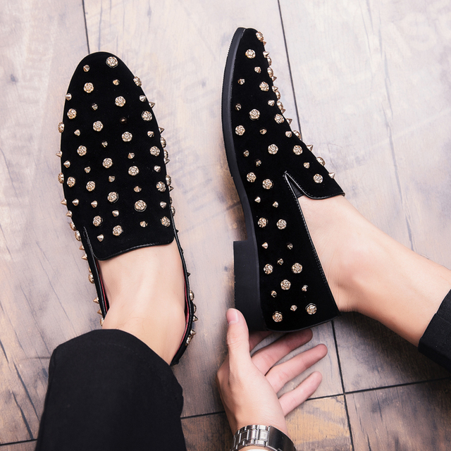 Mens Loafers Luxury Shoes Casual Men Shoes Brand  Sapato Masculino Frosted Studded Leather Shoes High Quality Zapatos De Hombre