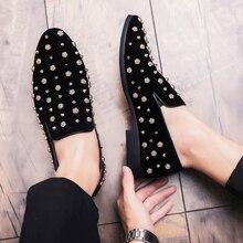 Mens loaferlar lüks ayakkabı günlük erkek ayakkabısı marka Sapato Masculino buzlu çivili deri ayakkabı yüksek kaliteli Zapatos De Hombre