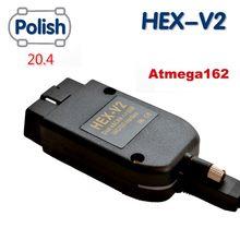 Mais novo 2020 vagcom 20.4.2 hex v2 interface vag com 19.6 para vw para skoda seat vag 20.4 polonês atmega162 + 16v8 ft232rq