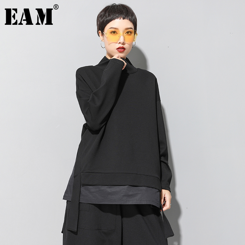 [EAM] Loose Fit Asymmetrical Oversized Sweatshirt New High Collar Long Sleeve Women Big Size Fashion Spring Autumn 2020 19A-a124