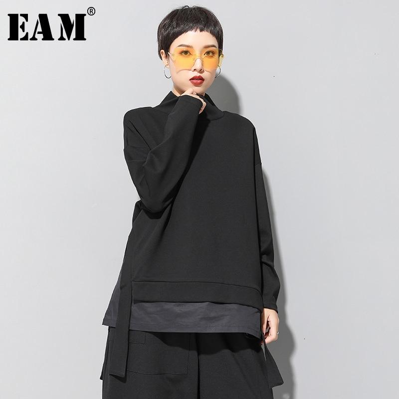 [EAM] Loose Fit Asymmetrical Oversized Sweatshirt New High Collar Long Sleeve Women Big Size Fashion Spring Autumn 2020 19A-a124