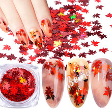 Holographische Blätter Pailletten Ultra-dünne PET Pailletten Gelb Rot Pailletten Nagel Glitter Flakes Herbst Maple Nail art Dekorationen 8g(China)