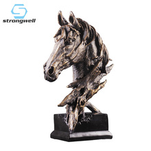 Strongwell Horse Statue Abstract Sculpture Sandstone Craft Miniature Figurine Home Decoration Accessories Living Room Decor