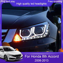 Car styling for Honda Accord 8th 2008-2013 Headlights LED Headlight DRL LED lens headlamps HID Xenon turnlight running light(China)