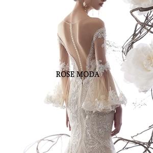 Image 5 - ローズモーダ見事なロングスリーブレースマーメイドウェディングドレス 2020 の Beadings 自由奔放に生きるウェディングドレスカスタム