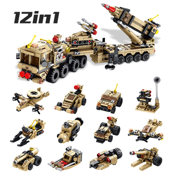 MEOA Military Series 12 IN 1 Patriot Air Defense Missile Building Blocks Set Gunboat Rocket Launcher Hovercraft Submarine Bricks realts trumpeter 01024 1 35 ex soviet 2p19 launcher w r 17 missile ss 1c scud b of 8k14 missile system
