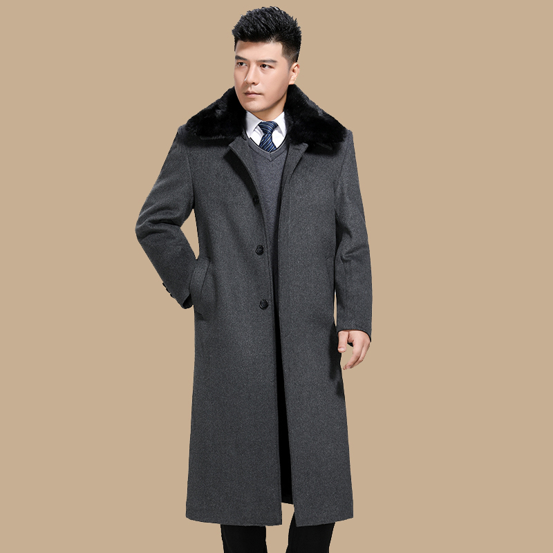 Long Wool Coat Man Business Jacket Winter Coat Men Plus Size Fur Collar Mens Coats 5xl Casaco Inverno Masculino KJ255