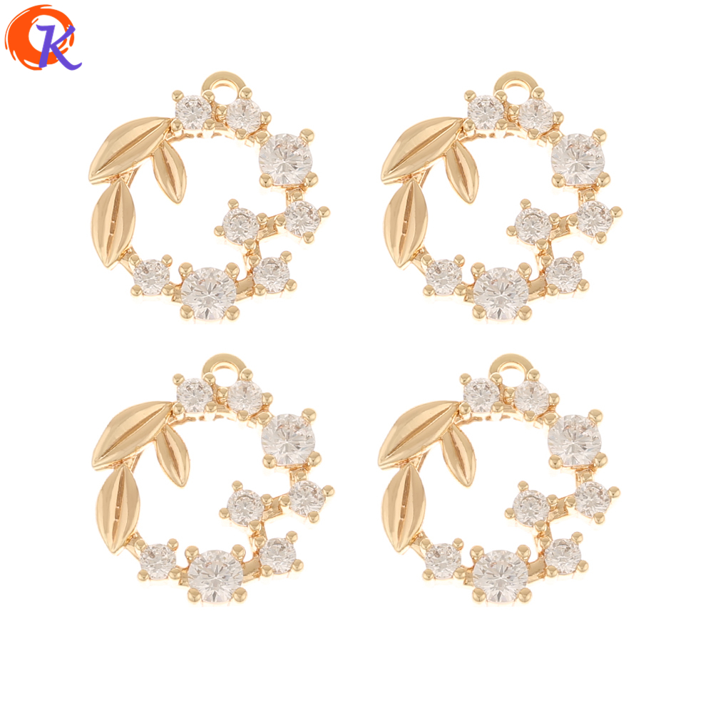 Cordial Design 30Pcs 14*15MM Jewelry Accessories/CZ Pendant/Hand Made/Genuine Gold Plating/Earring Findings/DIY Making/Charms
