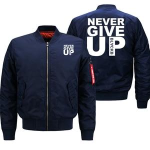 Image 2 - Bomberjack Mannen Geef Nooit Streetwear Dikke Jas Militaire Uitloper Heren Jassen Herfst Winter 2019 Plus Size 8XL Losse