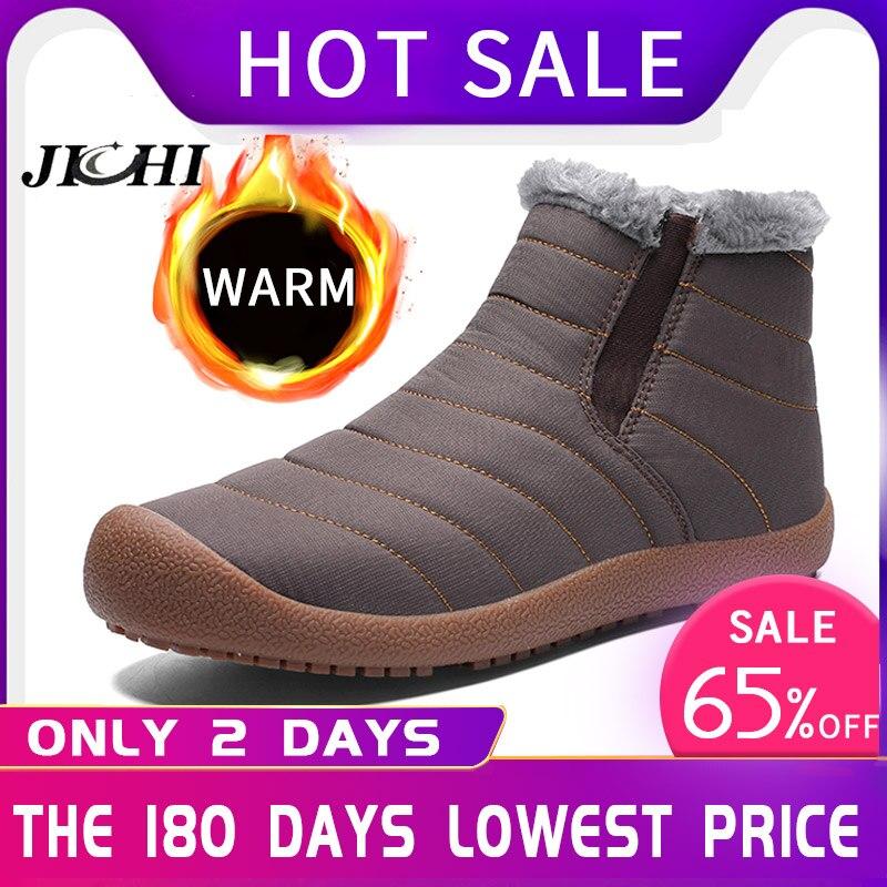 2019 Fashion Winter Men Boots Waterproof Comfortable Snow Boots Fur Warm Ankle Shoes Men Footwear Male Lightweight New LargeSize