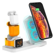 Besegad 3 en 1 support de charge sans fil Station daccueil support de chargeur avec ventilateur de refroidissement pour Apple Watch iWatch 4 AirPods iPhone