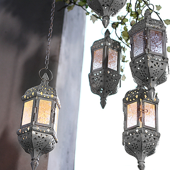 Moroccan Hanging Candle Holder Metal Glass Wind Light Candlestick Wedding Decor Glass Candle Lantern Wedding Decor 1
