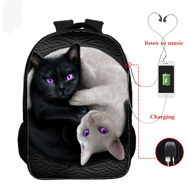 16 Inch Cat Children School Bags Orthopedic Backpack Kids School Boys Girls Mochila Infantil 3d Cat Prints Bags With Usb Charge