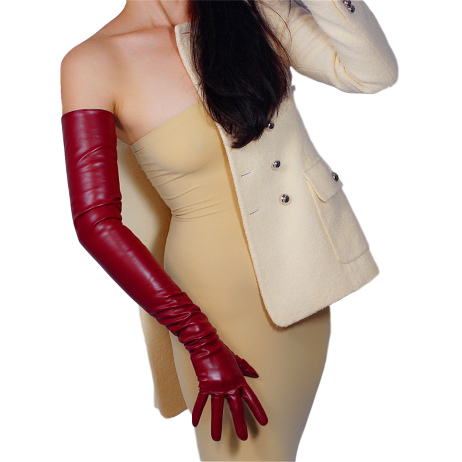 Extra Long Leather Gloves 70cm Over Elbow Simulation Leather Imitation Leather Imitation Sheepskin PU Crimson PUSH70