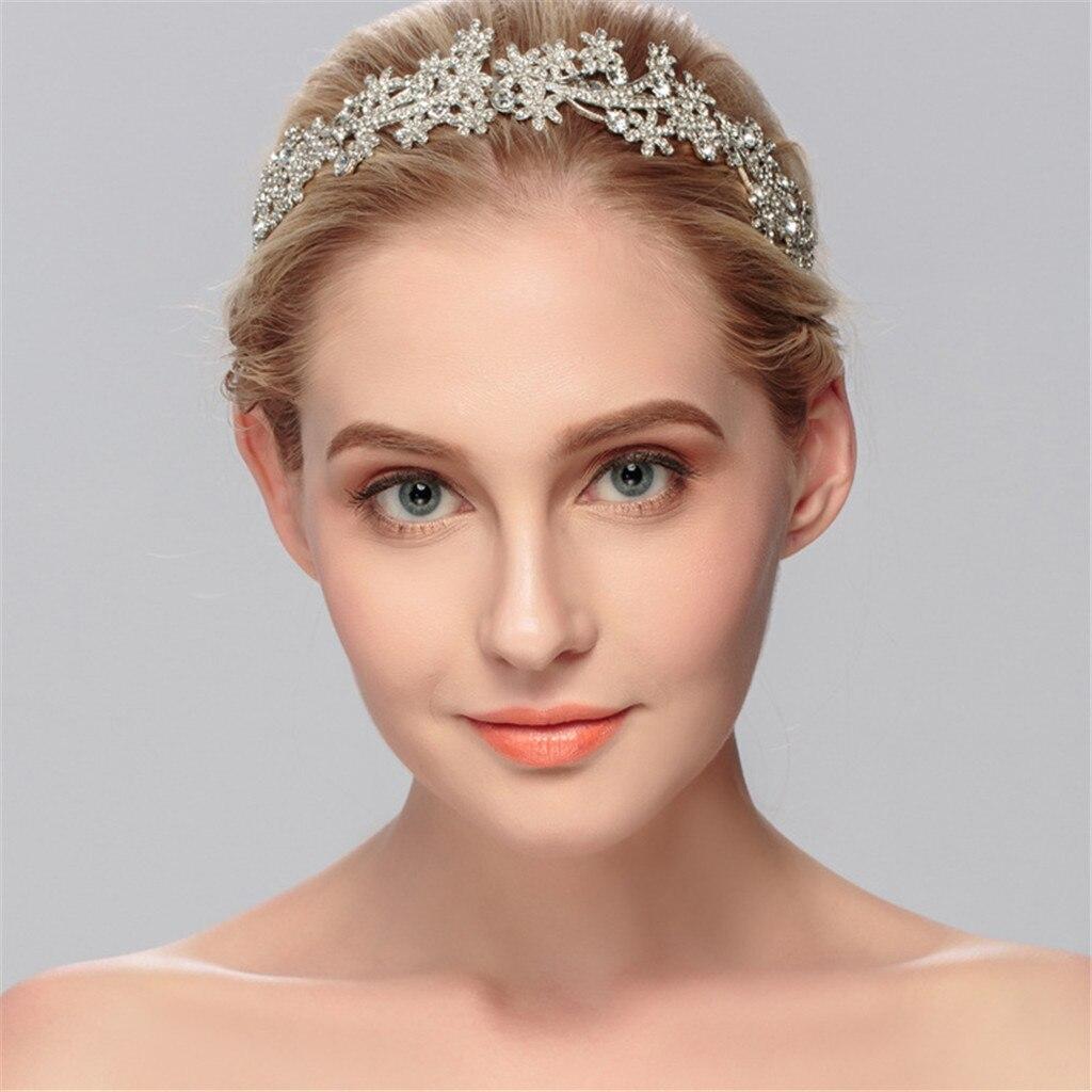 Flower Bride Hair Rose Gold Tiaras Headband Diamond Crown Bridal Headdress Beads Headpiece For Women Jewelry Y826