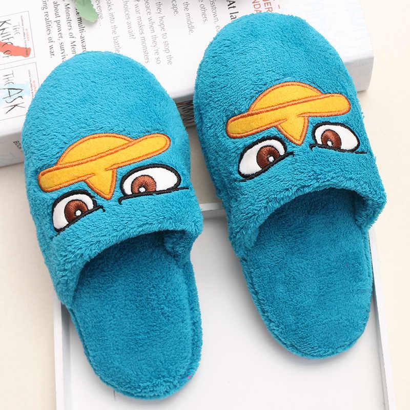 Zapatillas para el hogar niños lindas niñas zapatillas bebé niño deslizamiento invierno felpa Animal zapatillas niños zapatos de Interior para adolescentes