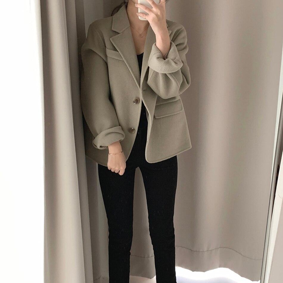 H7217378535f8490289fea136a9f561217 - Winter Korean Revers Collar Solid Woolen Short Coat