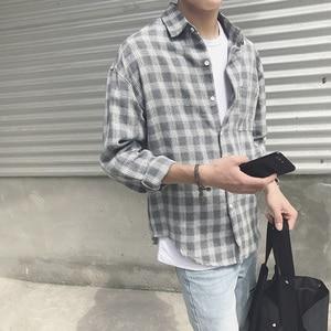 Image 4 - New Cotton Korean Style Clothe Fashion Streetwear Spring Summer Autumn Slim Fit Plaid Men Shirt Long Sleeve S 3XL