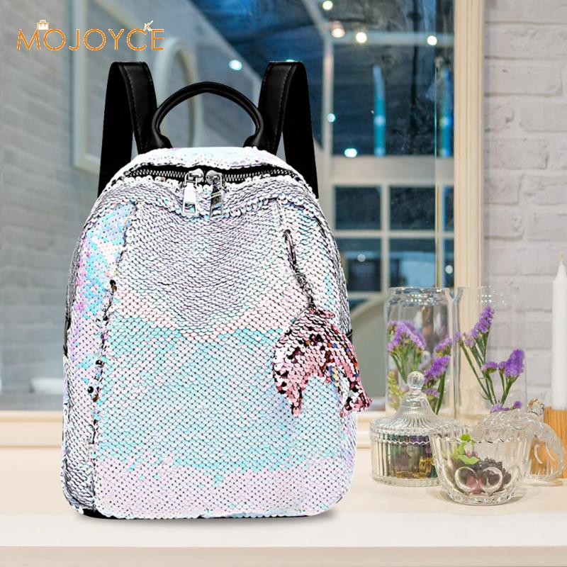 Women Girls Backpack Shining Sequins Rucksack Travel Shoulder School Bag Handbag