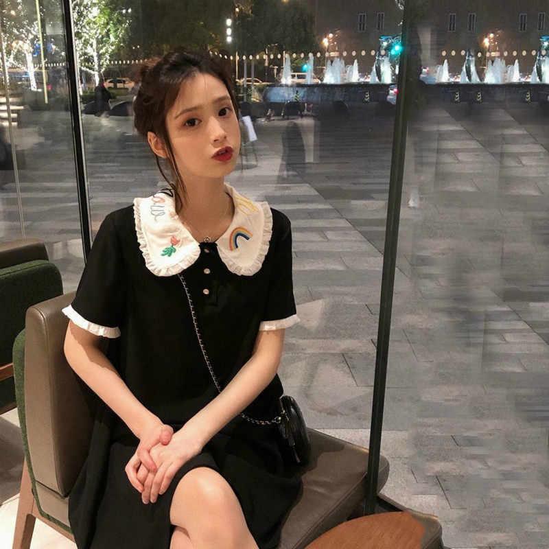 時装 Tシャツドレス女性 2019 夏の刺繍ポロストレートシャツドレスミニショートスリムボディコン Vestidos プラスサイズ 3XL