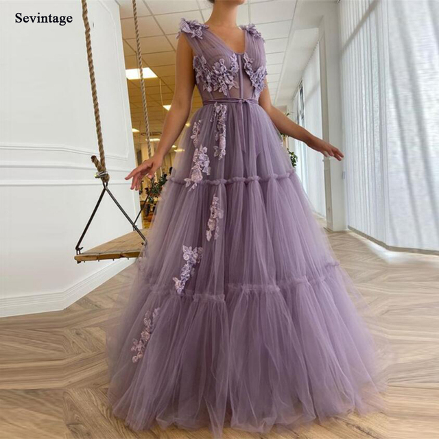 Sevintage Elegant Lavender Tiered Tulle Long Prom Dresses 2021 A Line Fitted Boning 3D Flowers Floor Length Evening Gowns 1