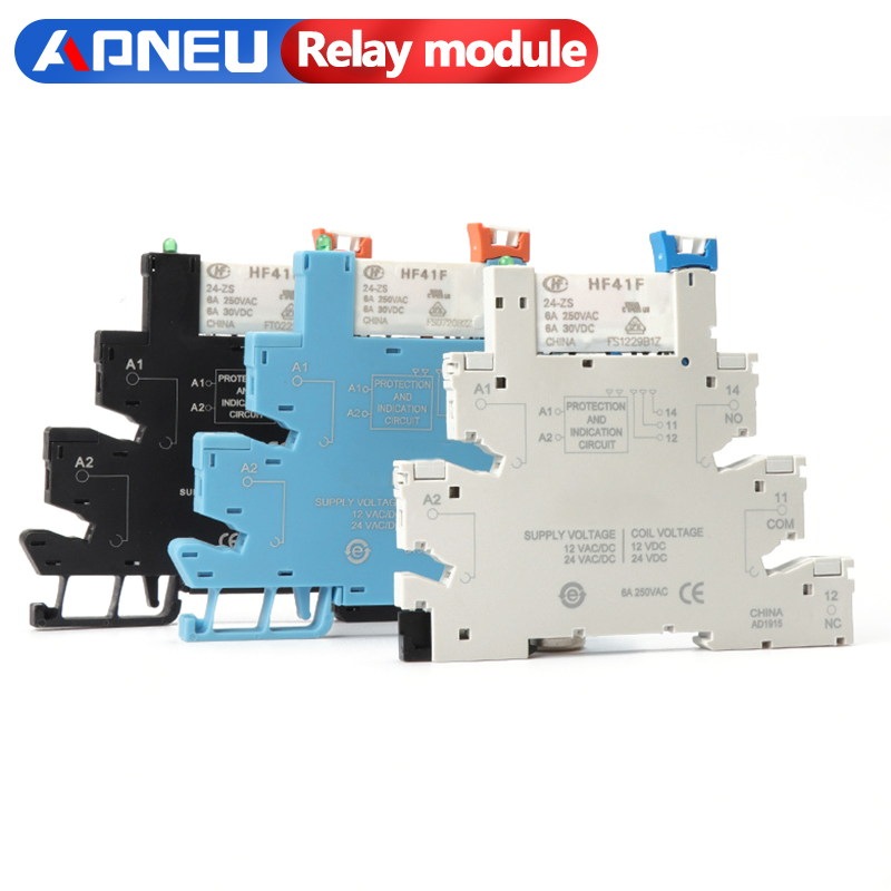 HF41F 12V 24V Integrated PCB Mount Power Relay With Relay Holder Voltage Contact Relay Module Set DIN RAIL