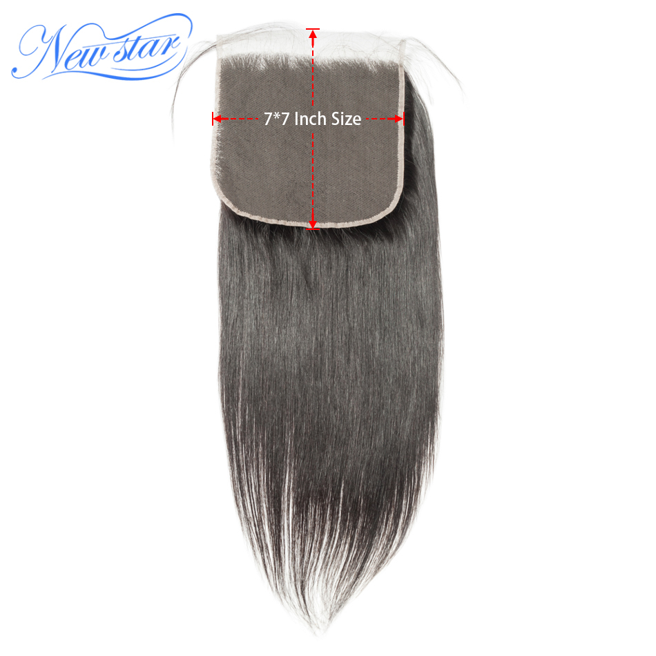 Straight Closure Hairline Human-Hair Lace Virgin Pre-Plucked Brazilian New 7x7 Star