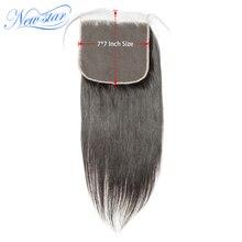 Encaje 7x7 cierre recto brasileño virgen pelo humano cierres nueva estrella pelo crudo cierre pre plucked línea de pelo con pelo de bebé
