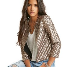 O-neck autumn ladies jackets outerwear womens coats and casual women bomber XXL silver cardigan clothe