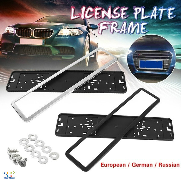 European / German / Russian Car Stainless Steel License Plate Frame With Screws (0.6 Thickness) Black / Silver