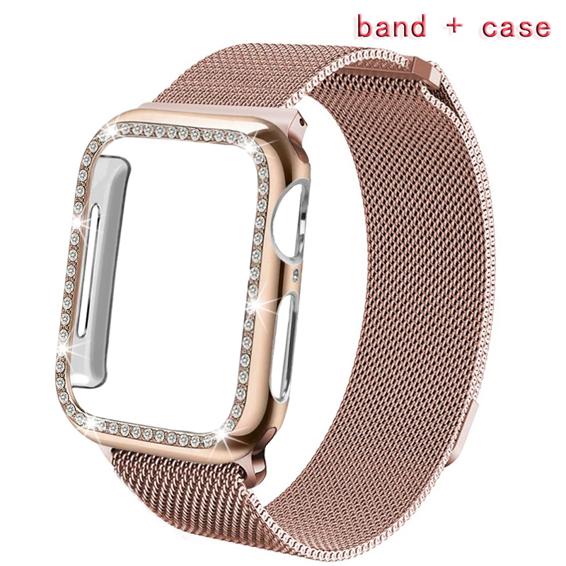 Milanese Loop Band For Apple Watch 42mm 38mm 40mm 44mm Bracelet Strap+case Magnetic  Buckle With  For Iwatch Series 4321