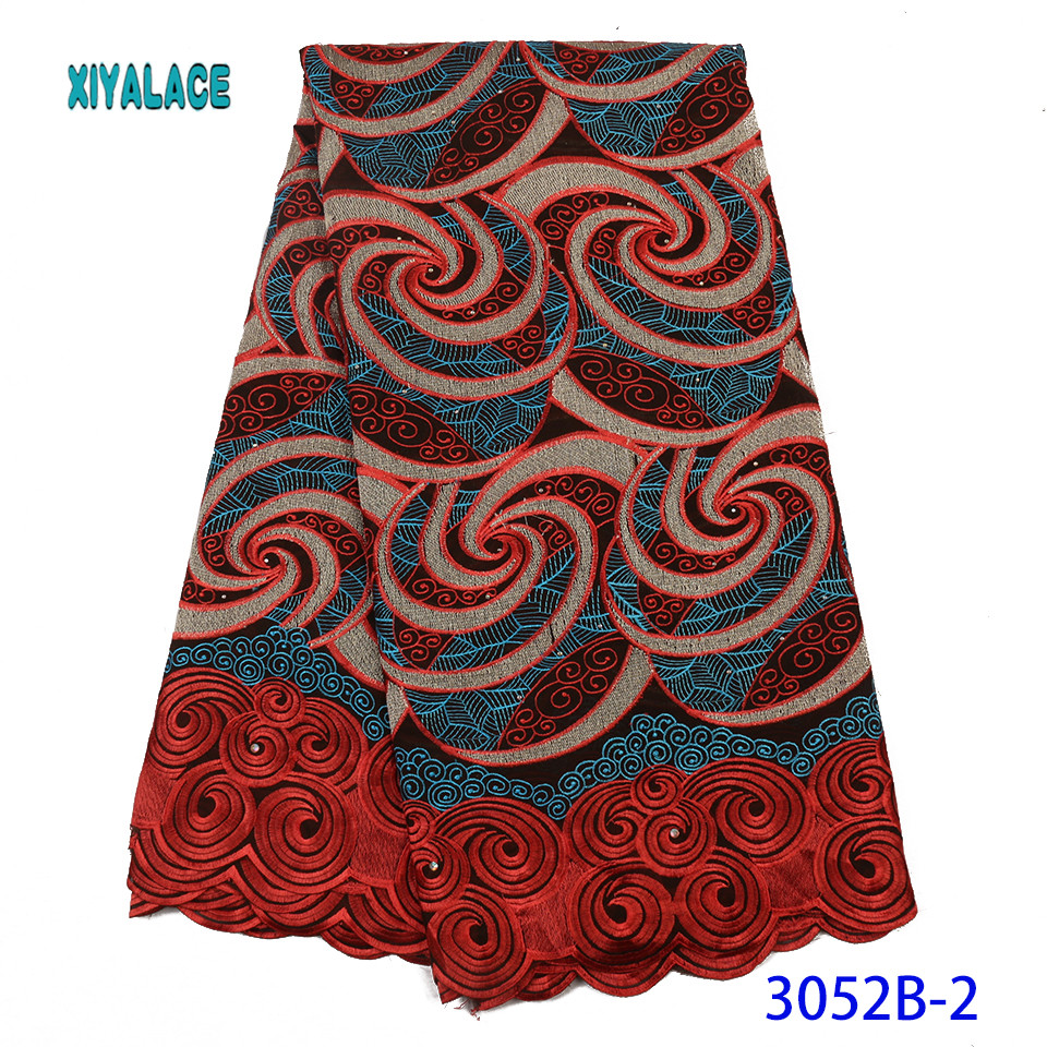 Nigerian Lace Fabric Embroidered High Quality 2019 Cotton African Lace Fabric French Lace Fabric Wedding Party Dress YA3052B-2